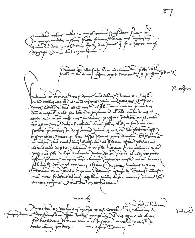 Die Urkunde, 10. September 1468 ausgestellt im Jagdschloss. Das erste Dokument, das Neuschloß erwähnt.
